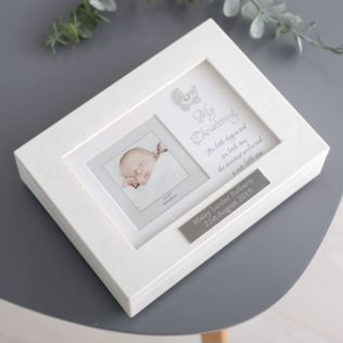 Personalised My Christening Musical Trinket Box With Frame Lid Product Image
