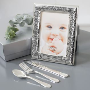 Personalised Christening Day Frame With Knife Fork & Spoon Set Product Image