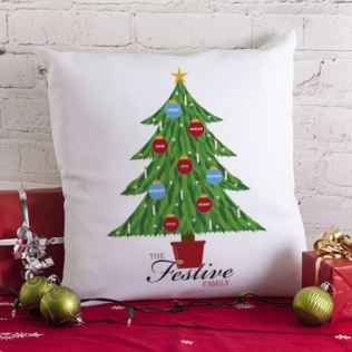 Christmas Family Tree Personalised Cushion Product Image