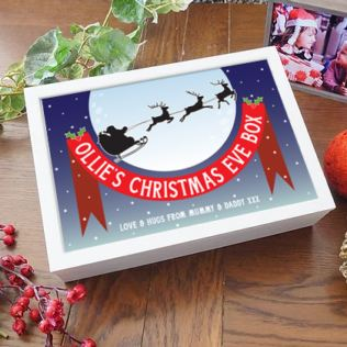 Personalised Santa Claus White Wooden Christmas Eve Box Product Image