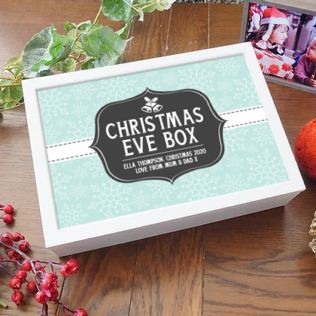 Personalised White Wooden Christmas Eve Box Product Image