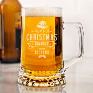 Personalised Merry Christmas Glass Stern Tankard Product Image