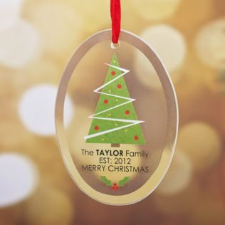 Personalised Our Family Oval Hanging Ornament - Tree Design Product Image