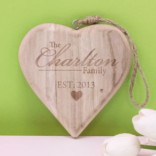 Personalised Family Established Chunky Hanging Wooden Heart Product Image