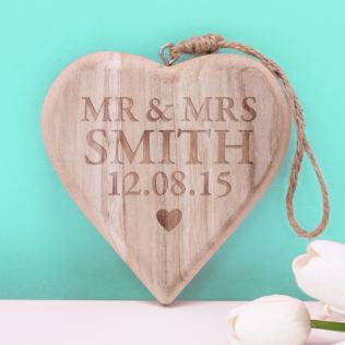 Personalised Mr and Mrs Chunky Hanging Wooden Heart Product Image
