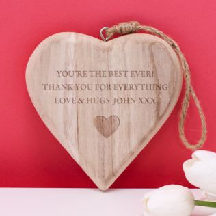 Personalised Chunky Hanging Wooden Heart Product Image