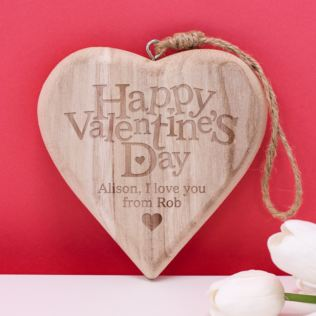 Personalised Happy Valentine's Day Chunky Wooden Hanging Heart Product Image