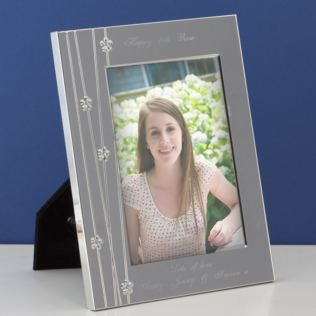 Personalised Silver Finish Frame With Daisy Design And Blue Crystals Product Image