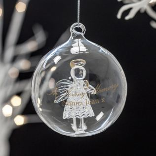 Personalised In Loving Memory Glass Angel Bauble Product Image