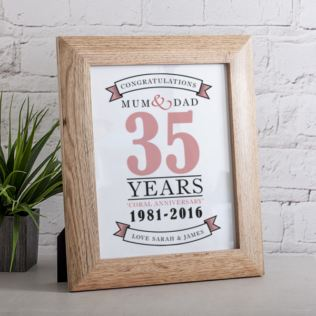Personalised Coral Anniversary Framed Print Product Image