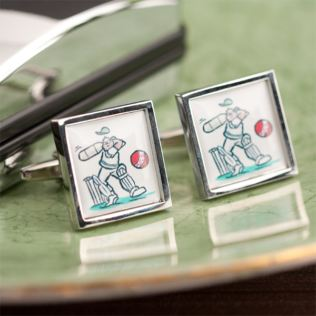Personalised Cartoon Cricket Cufflinks Product Image