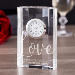 Personalised Love Crystal Mantel Clock Product Image