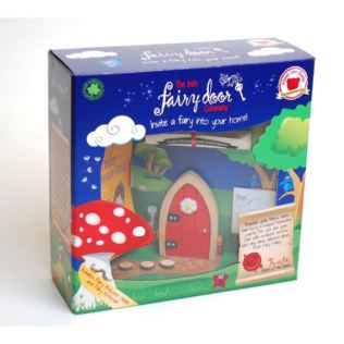 Red Arched Wooden Fairy Door Product Image