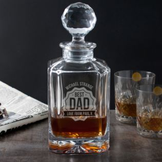 Personalised Best Dad Square Crystal Decanter Product Image