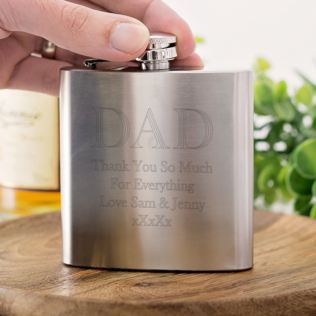 Personalised Brushed Stainless Steel Dad Hip Flask Product Image