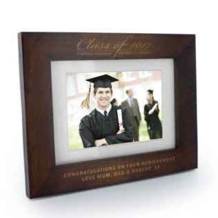 Engraved Graduation Class Of Dark Oak Wooden Photo Frame Product Image