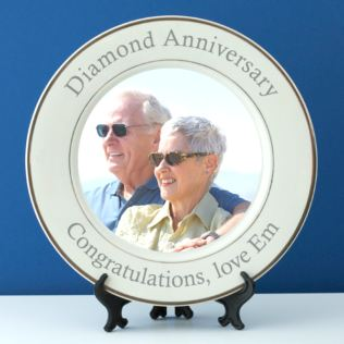 Personalised Diamond Wedding Anniversary Photo Plate Product Image