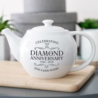 Personalised Diamond Wedding Anniversary Teapot Product Image