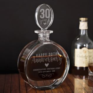 Personalised 30th Anniversary Lead Crystal Disc Decanter Product Image