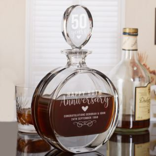 Personalised 50th Anniversary Lead Crystal Disc Decanter Product Image