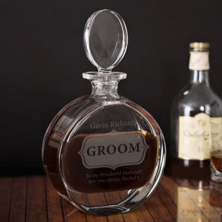 Personalised Groom Lead Crystal Disc Decanter Product Image