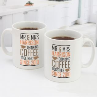 Personalised Pair Of Drinking Coffee Together Since Mugs Product Image