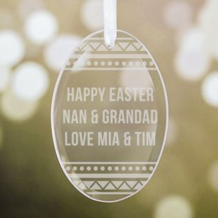 Personalised Hanging Oval Glass Easter Egg Decoration Product Image