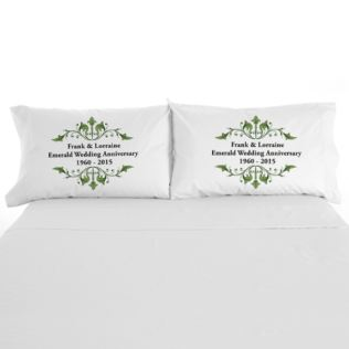 Personalised Emerald Anniversary Pillowcases Product Image