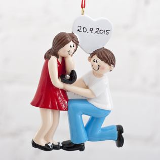 Personalised Engagement Couple Hanging Ornament Product Image