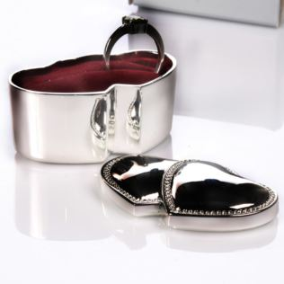 Engraved Silver Plated Double Ring Box Product Image