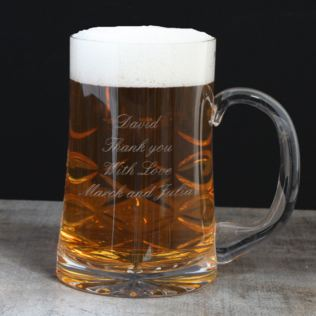 Engraved Straight Sided Cut Crystal Pint Tankard Product Image