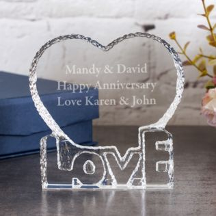 Personalised Optical Crystal 'Love' Heart Paperweight Product Image