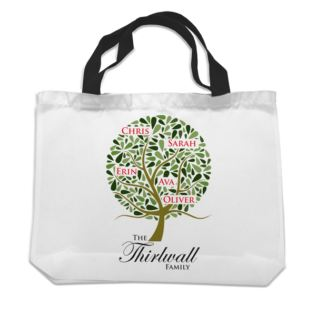 Family Tree Personalised Black Handled Shopping Bag Product Image