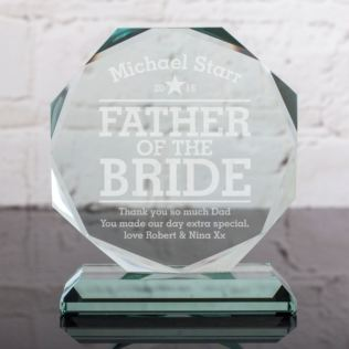 Personalised Father Of The Bride Glass Octagon Award Product Image