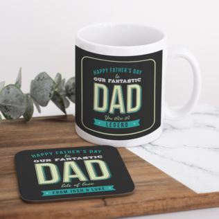 Personalised Fantastic Dad Fathers Day Mug & Coaster Set Product Image