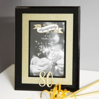 80th Birthday Gold Glitter Glass Frame Product Image