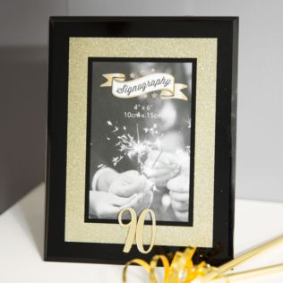 90th Birthday Gold Glitter Glass Frame Product Image