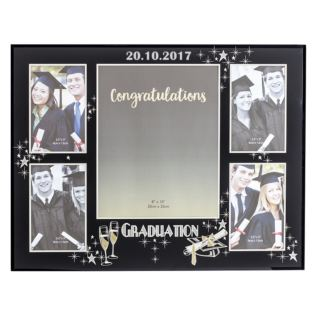 Personalised Large Black Glass Graduation Collage Photo Frame Product Image