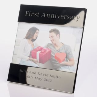 Engraved First Anniversary Photo Frame Product Image