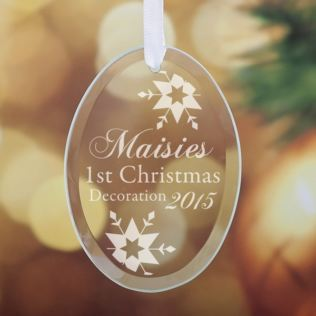 Personalised Childs First Christmas Oval Hanging Glass Ornament Product Image