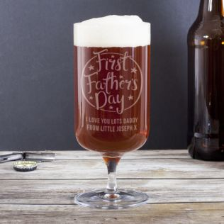 Engraved First Father's Day Beer Glass With Foot Product Image