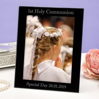 Personalised First Holy Communion Black Glass Photo Frame Product Image