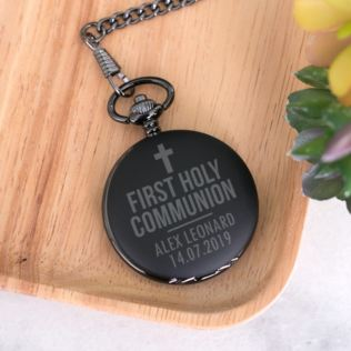 First Holy Communion Personalised Black Pocket Watch Product Image