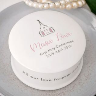 Personalised First Holy Communion Bone China Trinket Box - Pink Product Image