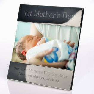 Engraved First Mother's Day Shiny Silver Photo Frame Product Image