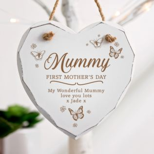 Personalised First Mother's Day White Wooden Hanging Heart Product Image