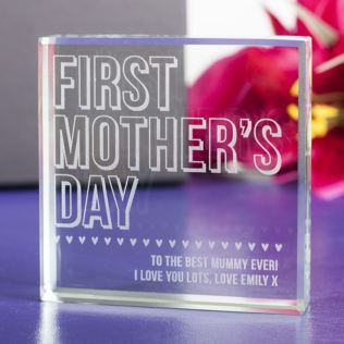 Personalised First Mother's Day Glass Keepsake Product Image