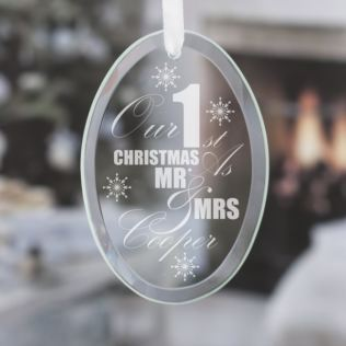 Personalised Our First Christmas Oval Hanging Glass Ornament Product Image