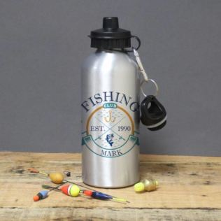 Personalised Fishing Club Silver Drinks Bottle Product Image