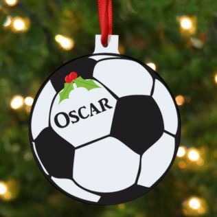 Personalised Football Hanging Christmas Ornament Product Image